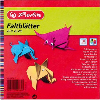 herlitz Origami Faltblätter, 200 x 200 mm, farbig sortiert