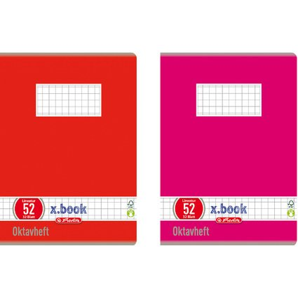 herlitz Oktavheft x.book, DIN A6, kariert, 70 g/qm, 32 Blatt