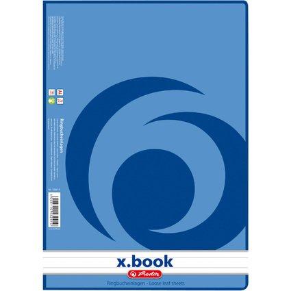 herlitz Ringbucheinlagen x.book, DIN A4, 100 Blatt, liniert