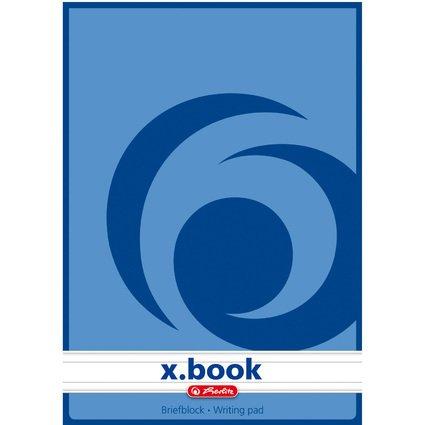 herlitz Briefblock x.book, A5, ungelocht, 50 Blatt, liniert