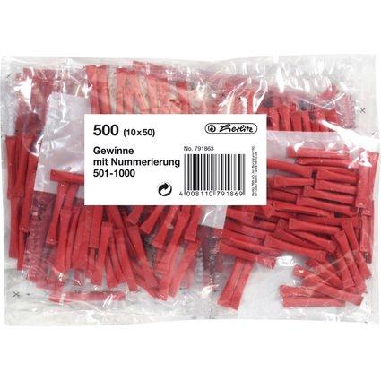 herlitz Gewinnlose, nummeriert 501-1.000, rot