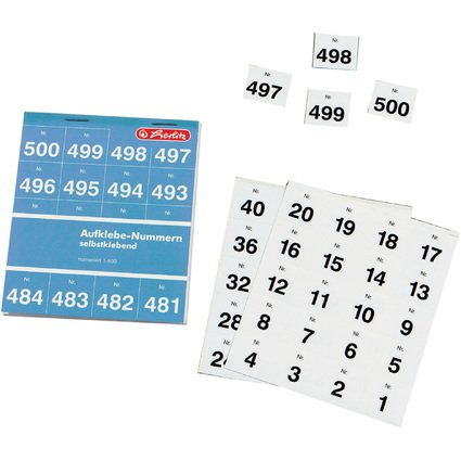 herlitz Aufklebenummern, selbstklebend, Nummern 1-500