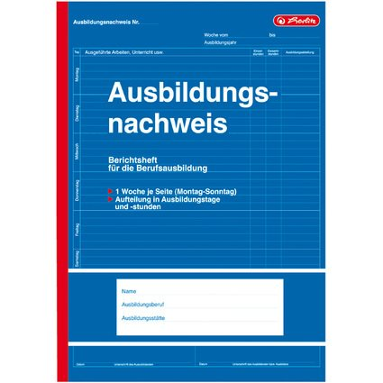 """herlitz Formularbuch """"Ausbildungsnachweis"""", DIN A4, 28 Blatt"""
