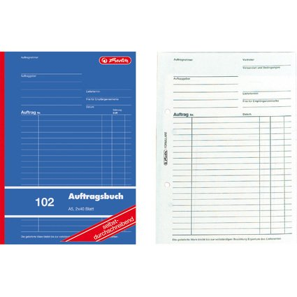 """herlitz Formularbuch """"Auftrag 102"""", DIN A5, 2 x 40 Blatt"""