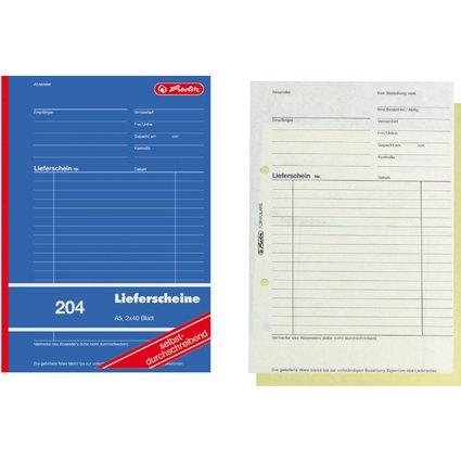 """herlitz Formularbuch """"Liefer-/Empfangsschein 204"""", DIN A5"""