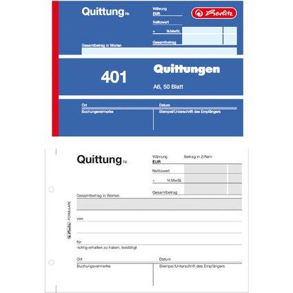 "herlitz Formularbuch ""Quittung 401"", DIN A6, 50 Blatt"