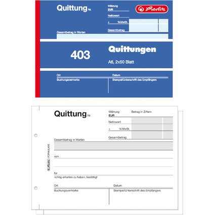 "herlitz Formularbuch ""Quittung 403"", DIN A6, 2 x 50 Blatt"