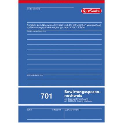 """herlitz Formularbuch """"Bewirtungsspensennachweis 701"""", DIN A5"""