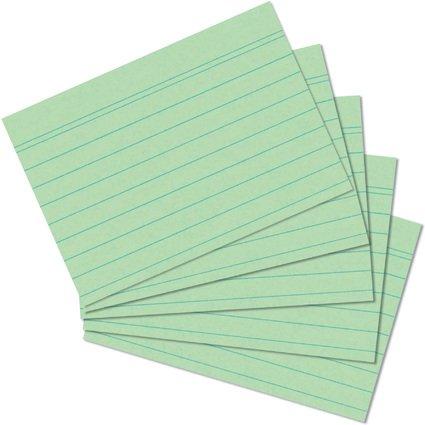 herlitz Karteikarten, DIN A5, liniert, grün