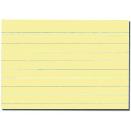 herlitz Karteikarten, DIN A7, liniert, gelb