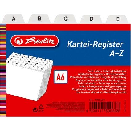 herlitz Karteiregister A - Z, PP, A6 quer, weiß, 24-teilig