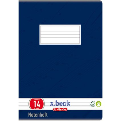 herlitz Notenheft x.book, DIN A5, Lineatur 14, 8 Blatt