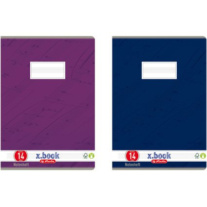 herlitz Notenheft x.book, DIN A4, Lineatur 14, 8 Blatt