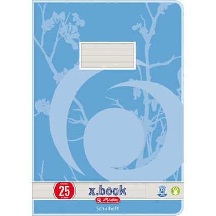 herlitz Schulheft x.book, DIN A4, UWS, Lineatur 25 / liniert