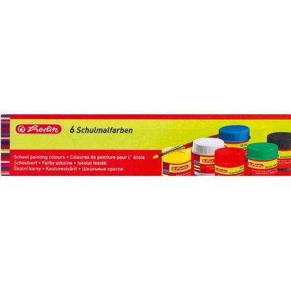 herlitz Schulmalfarbe, farbig sortiert, 6er Karton