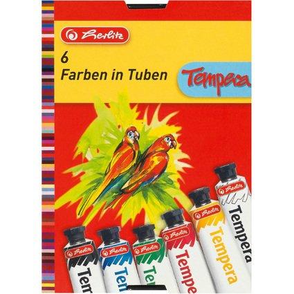 herlitz Gouachefarbe, farbig sortiert, 6er Karton-Etui