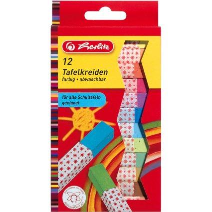 herlitz Wandtafelkreide, farbig sortiert, 12er Karton-Etui
