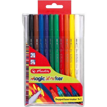 herlitz Doppel-Fasermaler Magic Colour, 10er Kunststoff-Etui