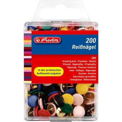 herlitz Reißnägel, farbig sortiert, Durchmesser: 9,5 mm