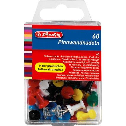 herlitz Pinnwand-Nadeln, farbig sortiert, Inhalt: 60 Stück