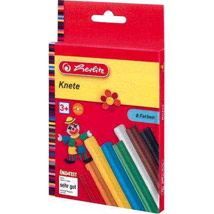herlitz Kinderknete, farbig sortiert, 8er Karton-Etui