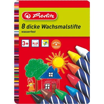 herlitz Wachsmalstifte, wasserfest, 8er Metall-Etui