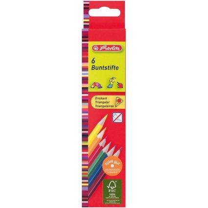 herlitz Dreikant-Buntstifte, 6er Karton-Etui