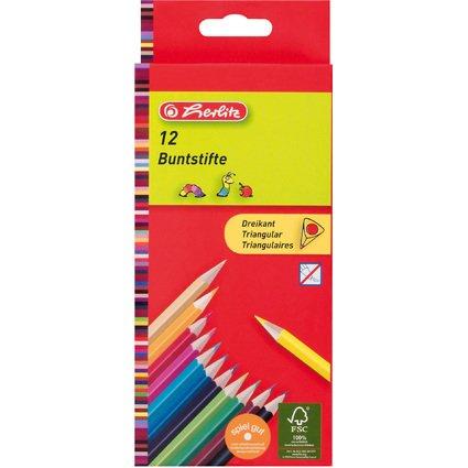 herlitz Dreikant-Buntstifte, 12er Karton-Etui
