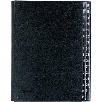 herlitz Pultordner, DIN A4, 1-31, 32 Fächer, schwarz