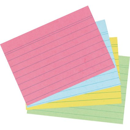 herlitz Karteikarten, DIN A6, liniert, farbig sortiert