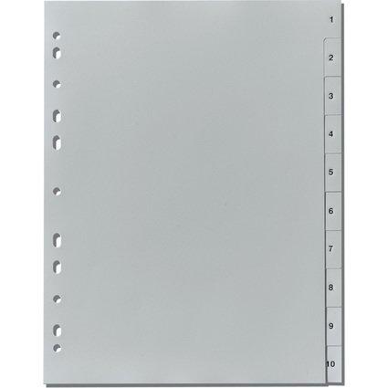 herlitz Kunststoff-Register, Zahlen, A4, 10-teilig, grau