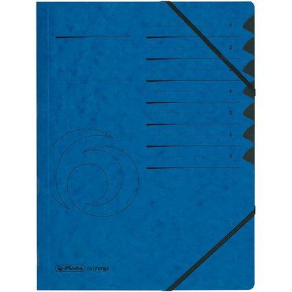 herlitz Ordnungsmappe easyorga, A4, Karton, 7 Fächer, blau