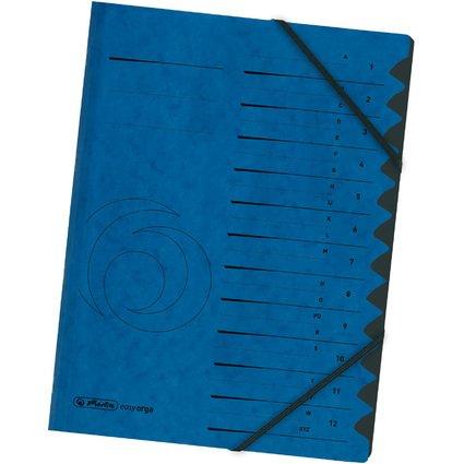 herlitz Ordnungsmappe easyorga, A4, Karton, 12 Fächer, blau