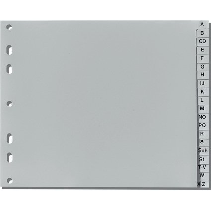 herlitz Kunststoff-Register, A-Z, A4 halbe Höhe, 20-teilig
