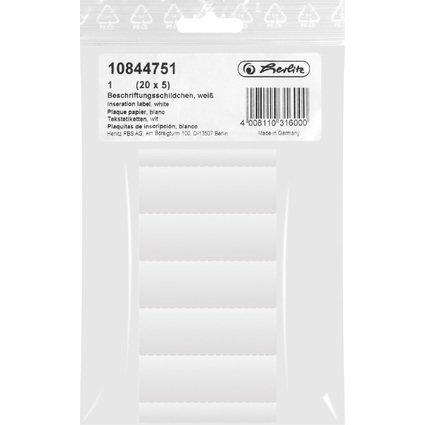 herlitz Blanko-Beschriftungsschilder, (B)60 x (H)21 mm, weiß