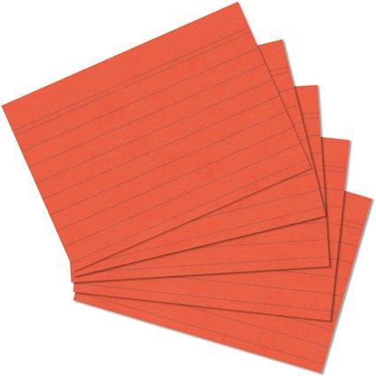 herlitz Karteikarten, DIN A7, liniert, orange