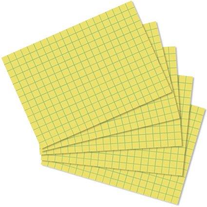herlitz Karteikarten, DIN A8, kariert, gelb