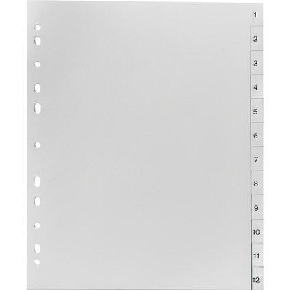 herlitz Kunststoff-Register, Zahlen, A4 Überbreite, 12-tlg.