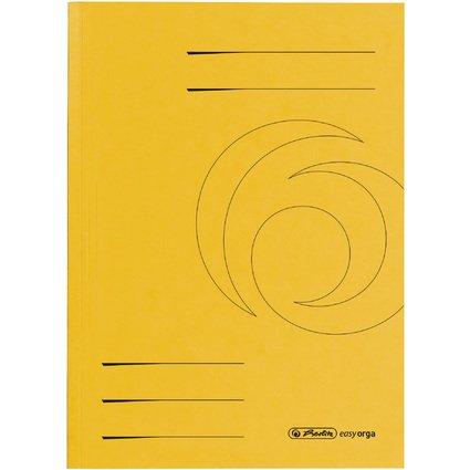 herlitz Aktendeckel easyorga, DIN A4, Colorspankarton, gelb