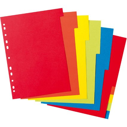 herlitz Karton-Register, blanko, DIN A4, farbig, 10-teilig