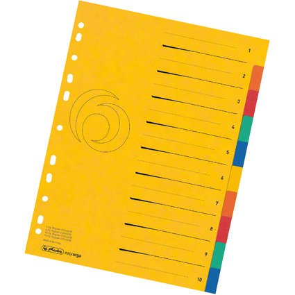 herlitz Karton-Register easyorga, A4 Überbreite, 10-teilig