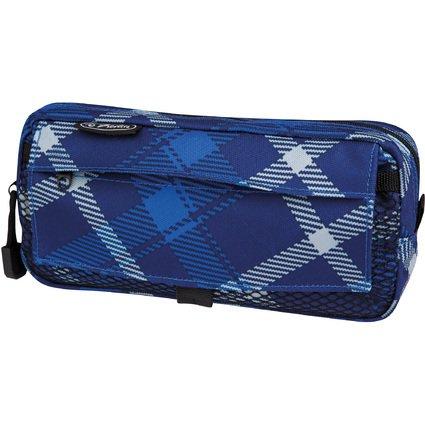 """herlitz Stifte-Tasche """"Karo"""", mit Netztasche, blau"""