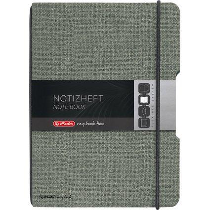herlitz Notizheft my.book flex, A6, Leinen-Cover, grau
