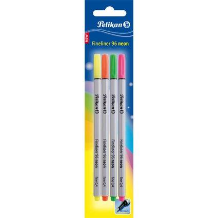 Pelikan Fineliner 96 Neon, 4er Etui, Strichstärke: 0,4 mm