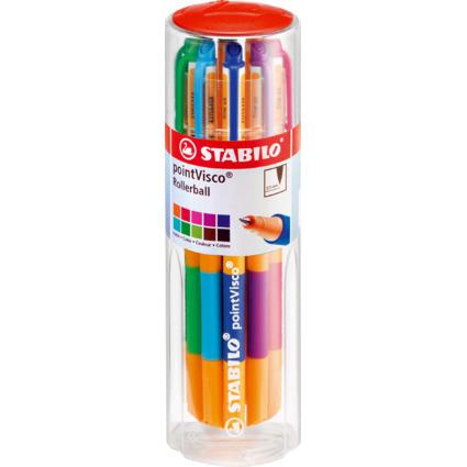 STABILO Gel-Roller pointVisco, 10er Kunststoff-Drum