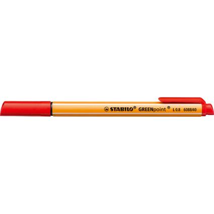 STABILO Fasermaler GREENpoint, Strichstärke: 0,8 mm, rot