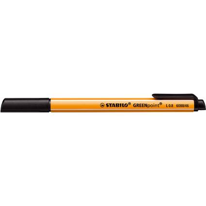 STABILO Fasermaler GREENpoint, Strichstärke: 0,8 mm, schwarz