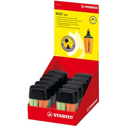 STABILO Textmarker BOSS MINI, 4er Kunststoff-Box