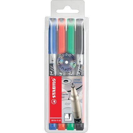 STABILO Permanent-Marker Write-4-all, F, 4er Kunststoff-Etui