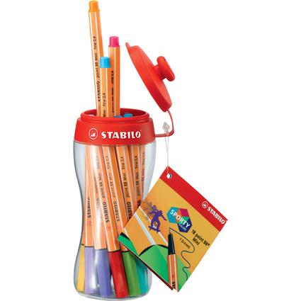 STABILO Fineliner point 88, 30er Rollerset, orange/weiß